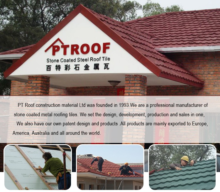 0.4 mm High quality photovoltaic solar stone coated chip roof tile polymer sandmix color roman roof tile for villa