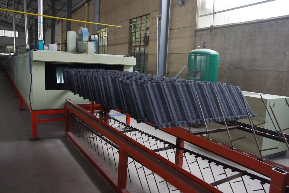 Stone coated metal roof tile production line