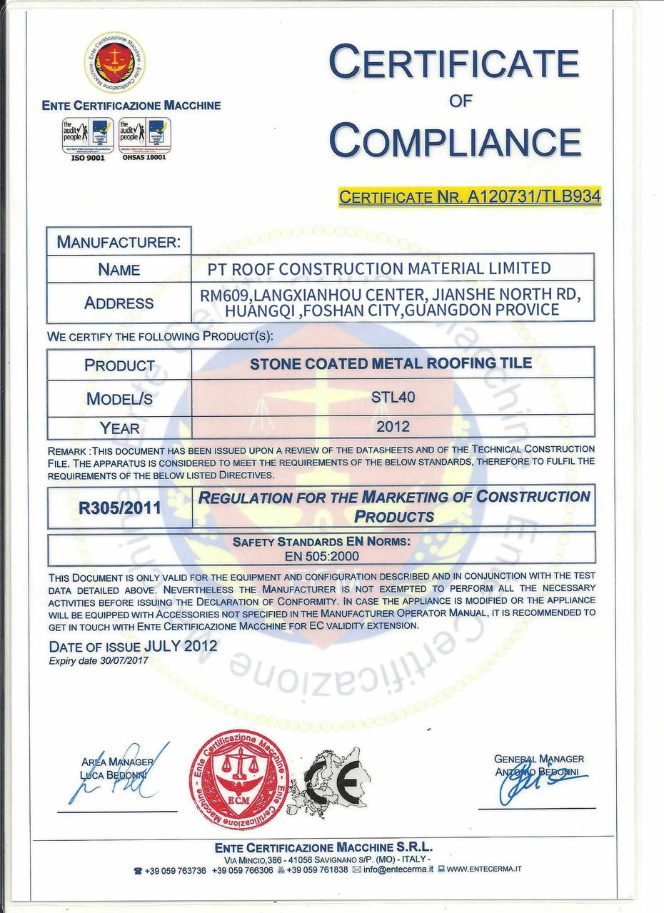 Certificate of Compliance For the Stone coated chip roof tile