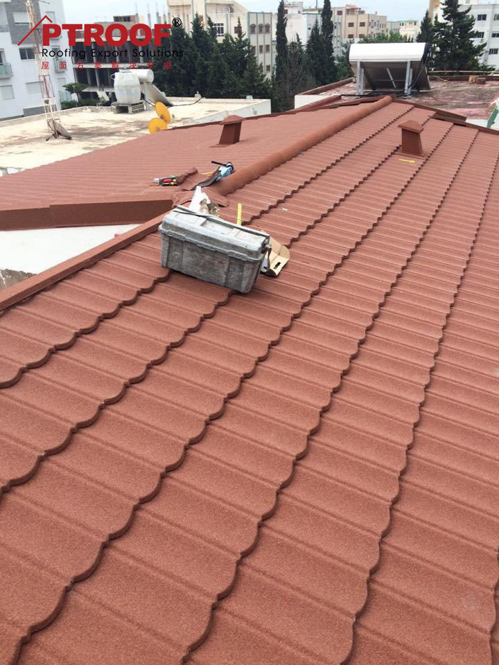 0.45mm thickness bond type stone coated chip roof tiles in Yangjiang