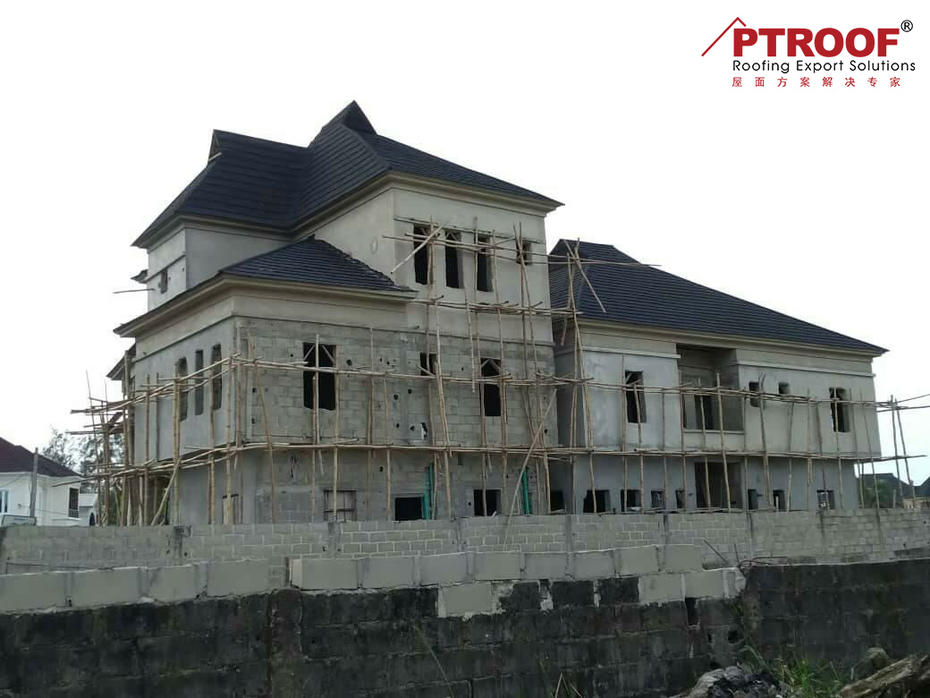 0.5 MM BLACK COLOR Bond type stone coated chip roof tiles project in Dar es Salaam of Tanzania
