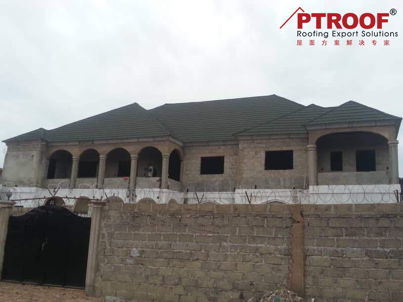 Bond roof tiles stone coated chip roof tiles project in Banjul of Gambia